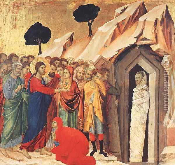 Resurrection of Lazarus 1308-11 Oil Painting - Duccio Di Buoninsegna