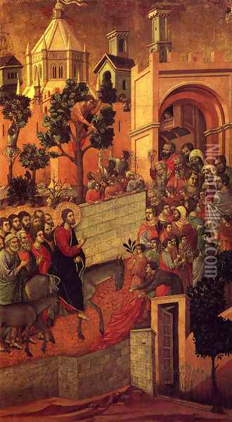 Maesta (Detail From The Maesta Alterpiece) (or Entry Into Jerusalem) Oil Painting - Duccio Di Buoninsegna