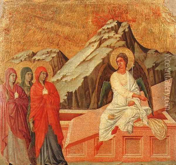 The Holy Women at the Sepulchre 1308-11 Oil Painting - Duccio Di Buoninsegna