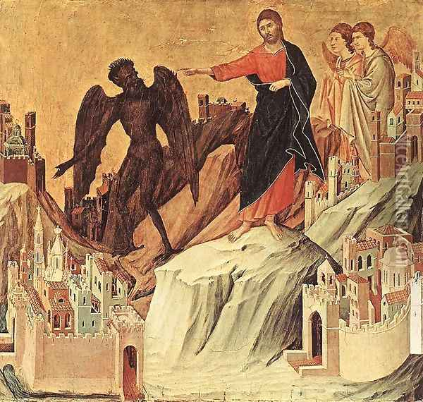 Temptation on the Mount (detail) 1308-11 Oil Painting - Duccio Di Buoninsegna