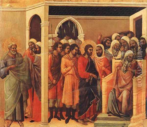 Christ Before Caiaphas 1308-11 Oil Painting - Duccio Di Buoninsegna