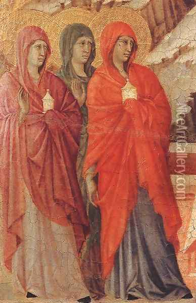 The Three Marys at the Tomb (detail) 1308-11 Oil Painting - Duccio Di Buoninsegna