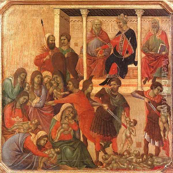 Slaughter of the Innocents 1308-11 Oil Painting - Duccio Di Buoninsegna