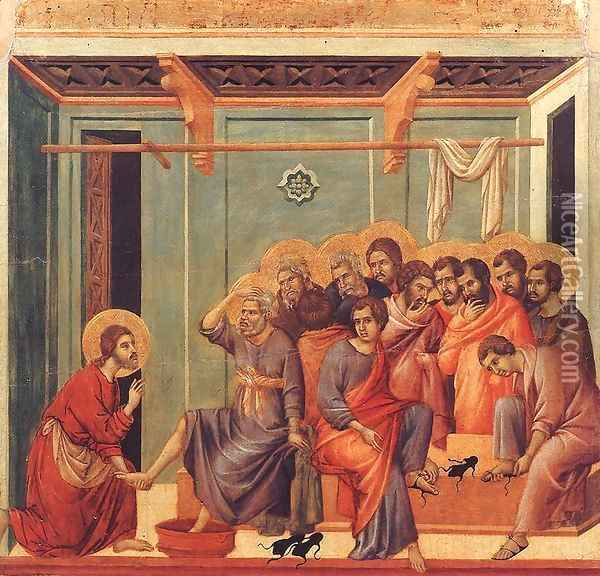 Washing of the Feet 1308-11 Oil Painting - Duccio Di Buoninsegna