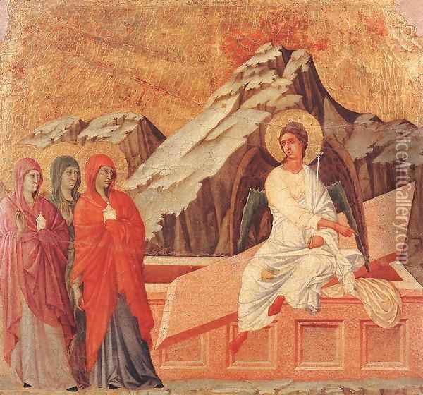 The Three Marys at the Tomb 1308-11 Oil Painting - Duccio Di Buoninsegna