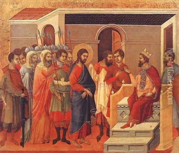 Christ Before Herod 1308-11 Oil Painting - Duccio Di Buoninsegna