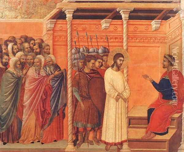 Christ Before Pilate Again 1308-11 Oil Painting - Duccio Di Buoninsegna