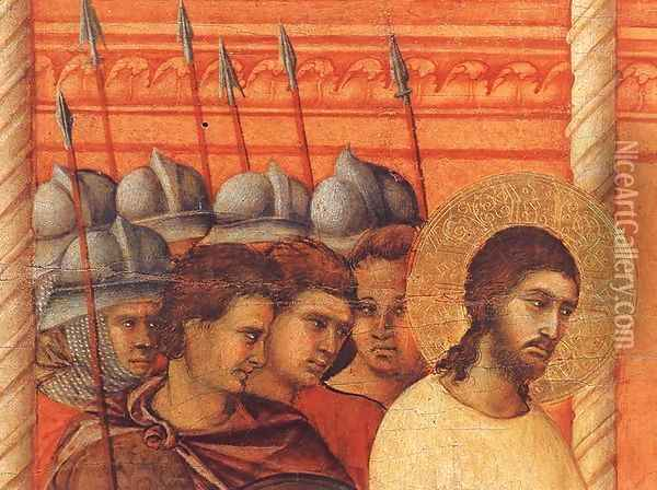 Christ Before Pilate Again (detail) 1308-11 Oil Painting - Duccio Di Buoninsegna