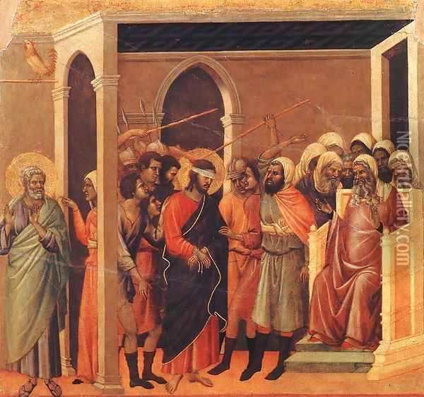 Christ Mocked 1308-11 Oil Painting - Duccio Di Buoninsegna