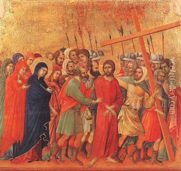 Way to Calvary 1308-11 Oil Painting - Duccio Di Buoninsegna