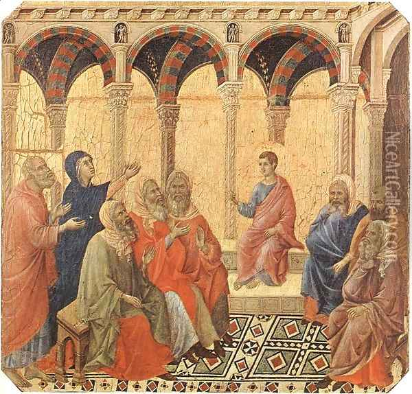 Disputation with the Doctors 1308-11 Oil Painting - Duccio Di Buoninsegna