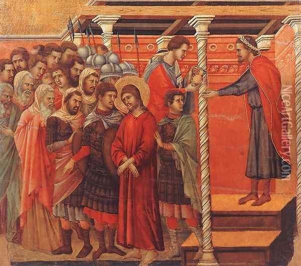 Pilate Washing his Hands 1308-11 Oil Painting - Duccio Di Buoninsegna