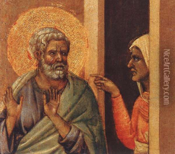 Christ Mocked (detail 2) 1308-11 Oil Painting - Duccio Di Buoninsegna