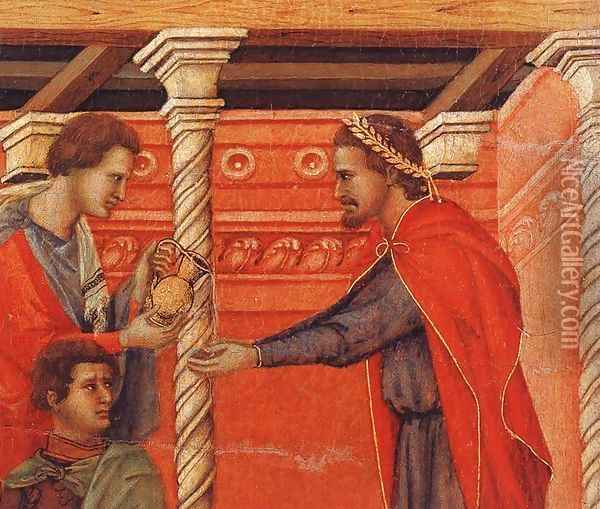 Pilate Washing his Hands (detail) 1308-11 Oil Painting - Duccio Di Buoninsegna