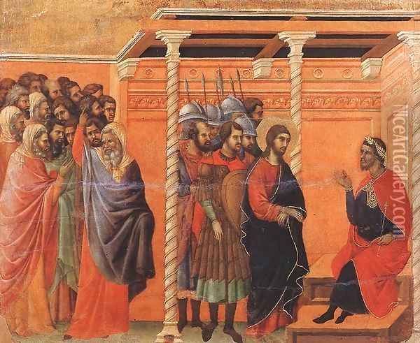 Pilate's First Interrogation of Christ 1308-11 Oil Painting - Duccio Di Buoninsegna