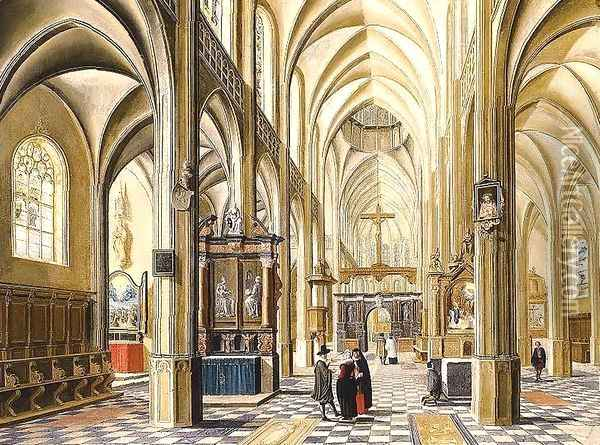 Interior of a Gothic Cathedral 1614 Oil Painting - Bartholomeus Van Bassen