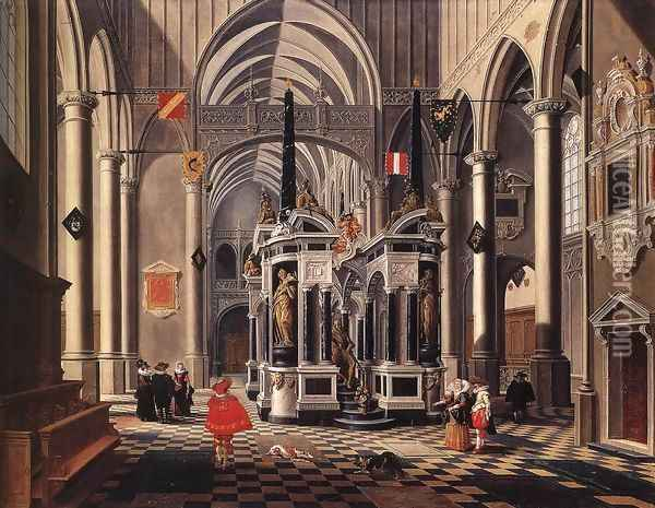 The Tomb Of William The Silent In An Imaginary Church 1620 Oil Painting - Bartholomeus Van Bassen