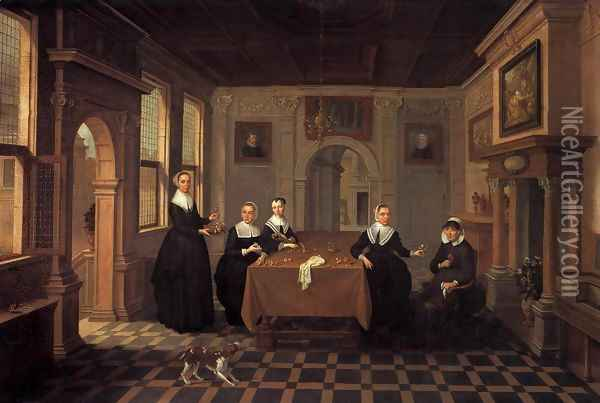 A Company in an Interior Oil Painting - Bartholomeus Van Bassen