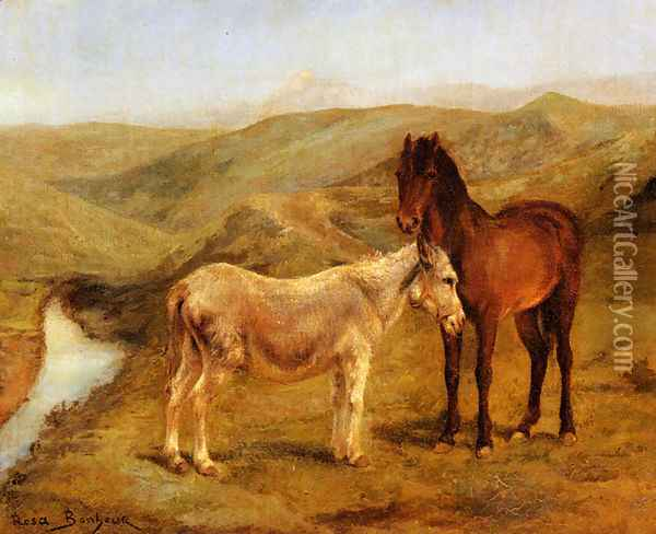 A Horse And Donkey In A Hilly Landscape Oil Painting - Rosa Bonheur