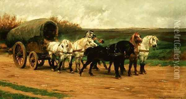A Waggon and Team of Horses 1852 Oil Painting - Rosa Bonheur