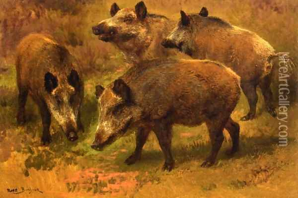 Four Boars in a Landscape Oil Painting - Rosa Bonheur