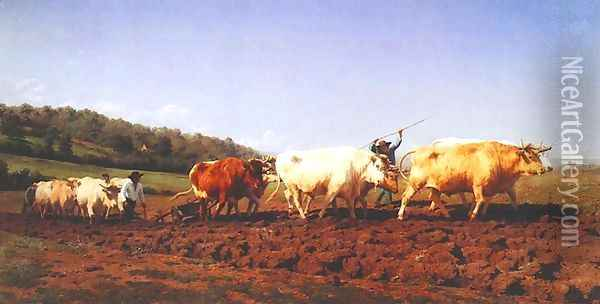 Ploughing in the Nivernais Region 1849 Oil Painting - Rosa Bonheur