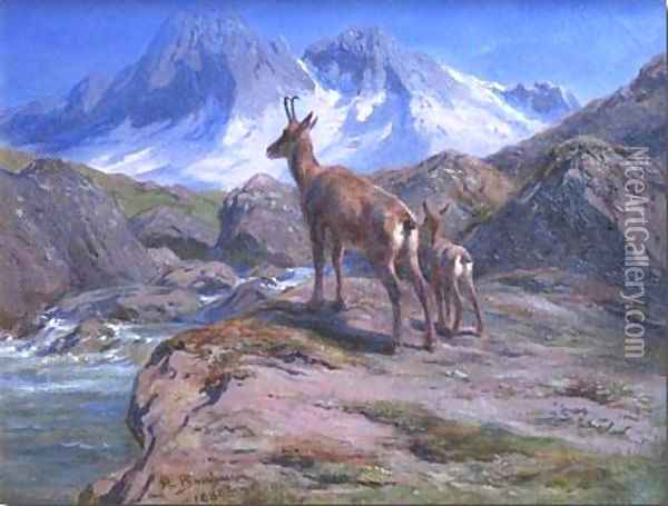 Chamois Mother and Baby Oil Painting - Rosa Bonheur