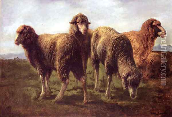 Sheep Grazing in a Meadow Oil Painting - Rosa Bonheur