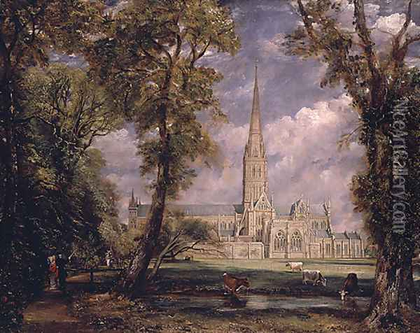 Salisbury Cathedral from the Bishop s Grounds 1825 Oil Painting - Rosa Bonheur