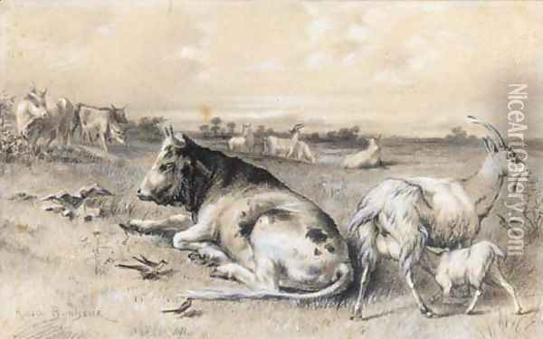 Cattle and goats in a landscape Oil Painting - Rosa Bonheur