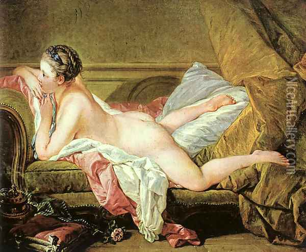 Nude on a Sofa (or Reclining Girl) Oil Painting - Francois Boucher