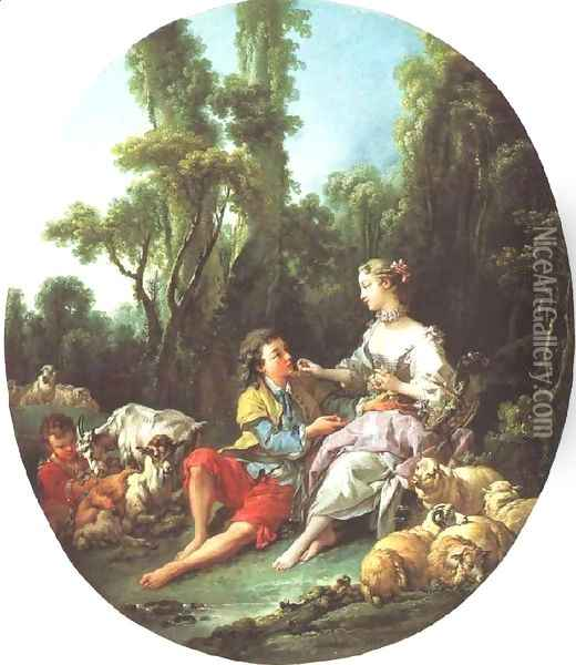 Are They Thinking About the Grape, 1747 Oil Painting - Francois Boucher