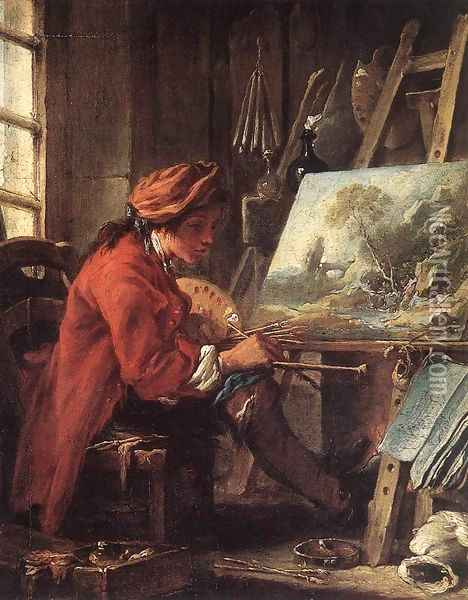 Painter in his Studio Oil Painting - Francois Boucher