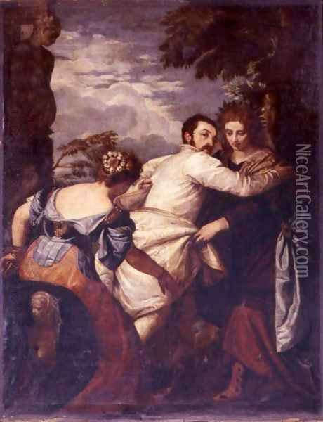 The Choice Between Virtue and Vice. Hercules in the Crossroads (original b Paolo Veronese) Oil Painting - Francois Boucher
