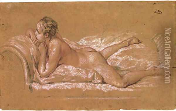 A female nude reclining on a chaise-longue Oil Painting - Francois Boucher
