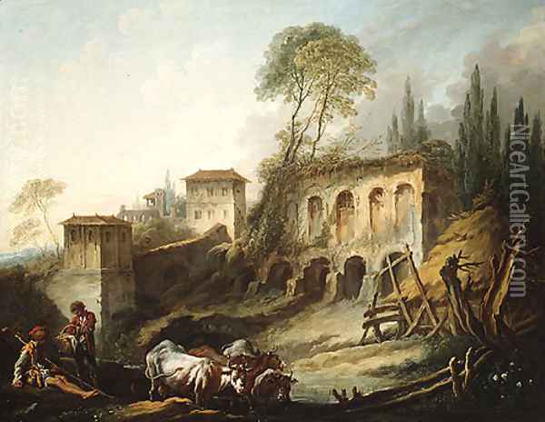 Capriccio View from the Campo Vaccino 1734 Oil Painting - Francois Boucher