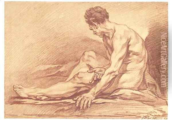A male nude seated in profile to the left Oil Painting - Francois Boucher