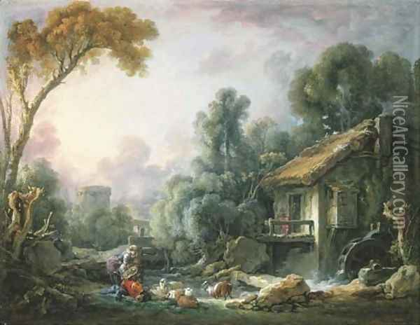 Le Moulin à Eau A landscape with a herdsman and his family by a mill Oil Painting - Francois Boucher