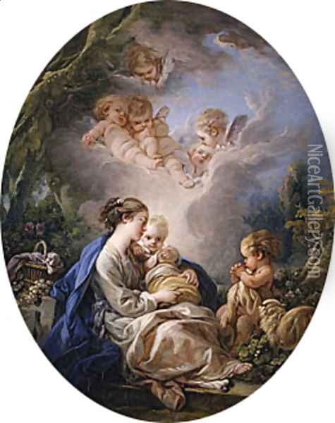 Virgin and Child with the Young Saint John the Baptist and Angels 1765 Oil Painting - Francois Boucher