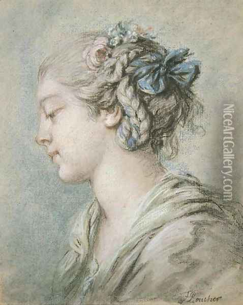 Head of a young girl turned to the right Oil Painting - Francois Boucher