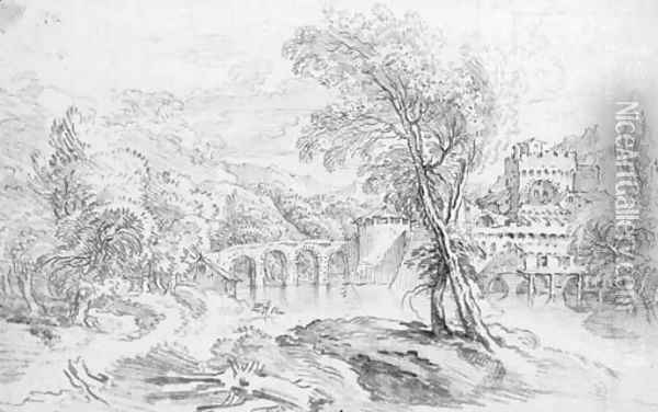 An extensive river landscape with a bridge and a fortified town beyond Oil Painting - Francois Boucher