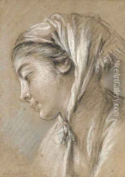 Head of a girl looking down to the left wearing a scarf Oil Painting - Francois Boucher