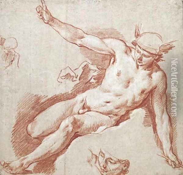 Mercury reclining on a cloud, pointing to the sky with his left arm, with subsidiary studies of his head and shoulder Oil Painting - Francois Boucher