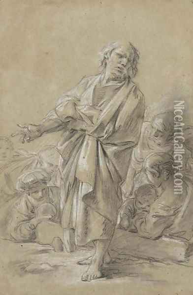 An Apostle preaching, with figures in the background Oil Painting - Francois Boucher