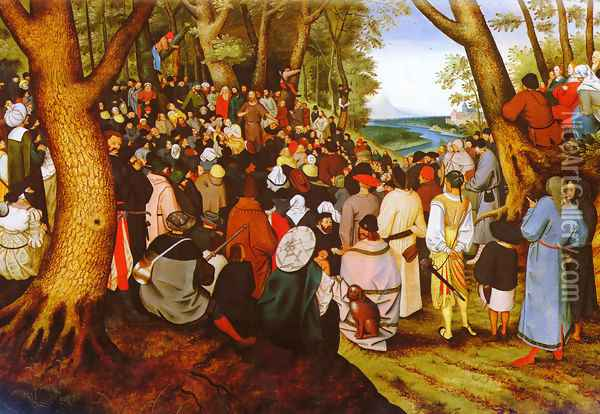 A LandScape With Saint John The Baptist Preaching Oil Painting - Pieter The Younger Brueghel