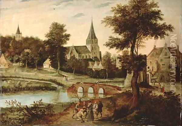 A village landscape with a bridge, figures on a track in the foreground Oil Painting - Pieter The Younger Brueghel