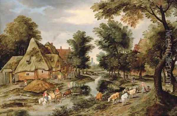 A wooded village landscape with a herdswoman on a path and a horse and cart crossing a river Oil Painting - Pieter The Younger Brueghel