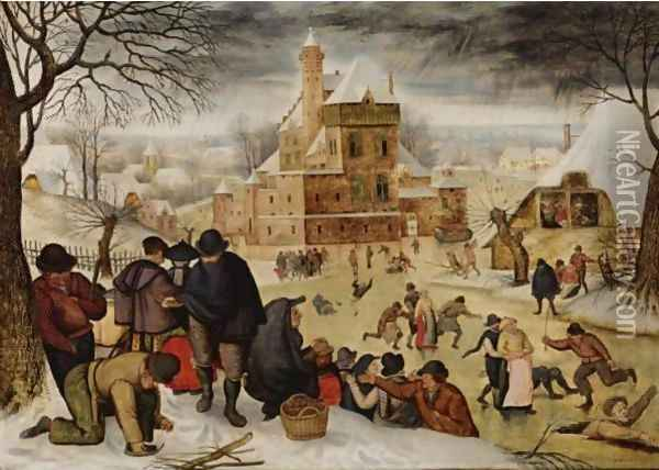 A winter landscape with peasants skating and playing kolf on a frozen river, a town beyond Oil Painting - Pieter The Younger Brueghel