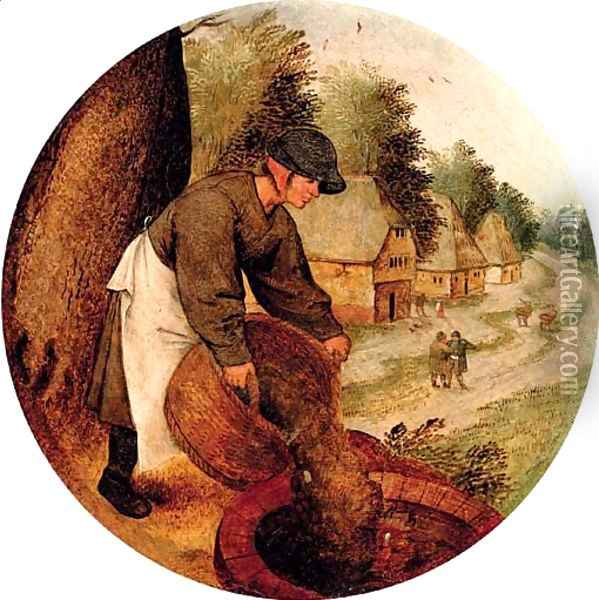 Proverb 'filling the well after the calf has drowned' Oil Painting - Pieter The Younger Brueghel