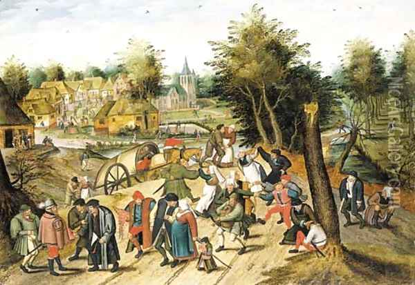 The return from the fair Oil Painting - Pieter The Younger Brueghel